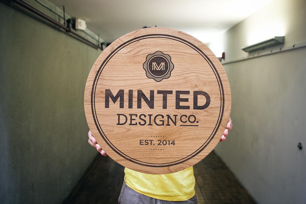 Minted Design Etched Sign