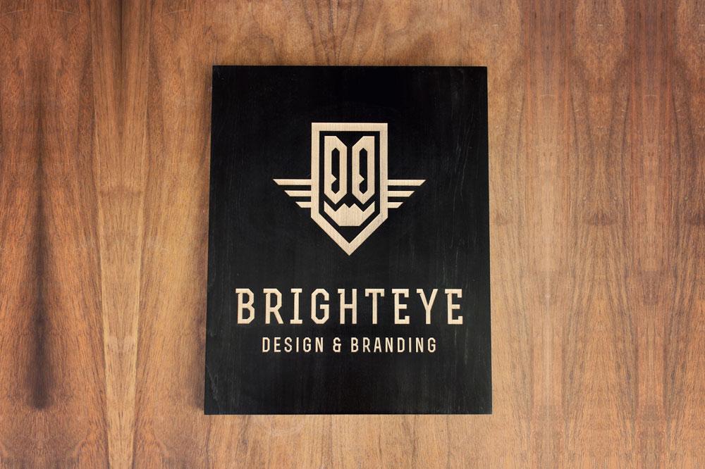 laser etched black sign for Brighteye