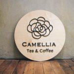Camellia Tea & Coffee Wood Sign
