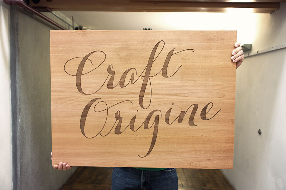 Etched wood sign for Craft Origine