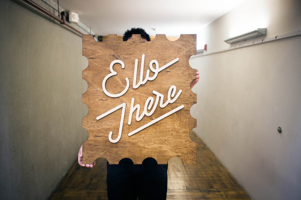 Ello There Wood Tradeshow Sign