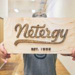 Netergy wood sign