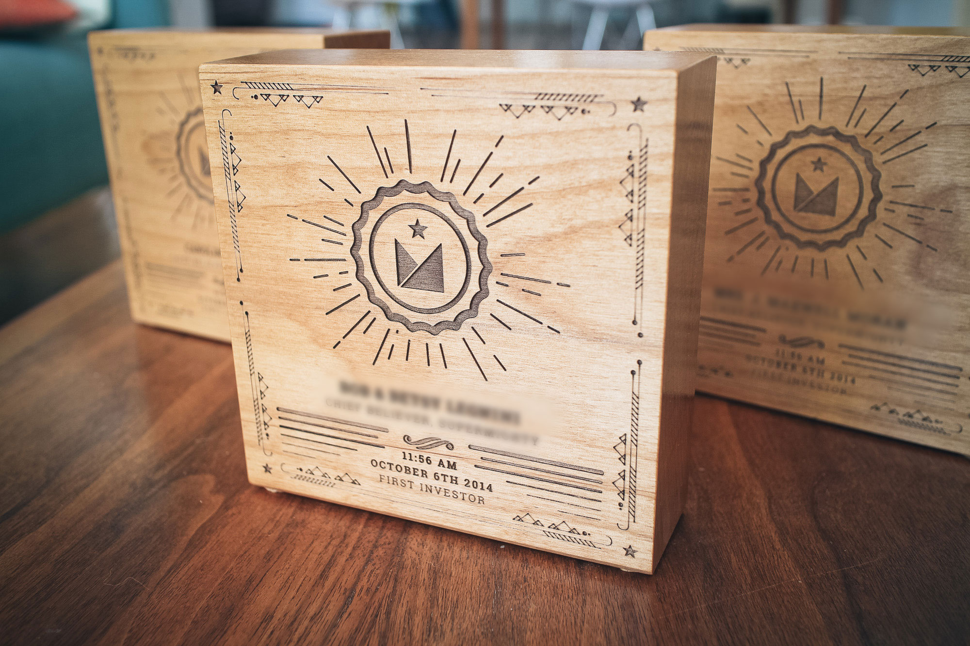 supermighty etched wood award