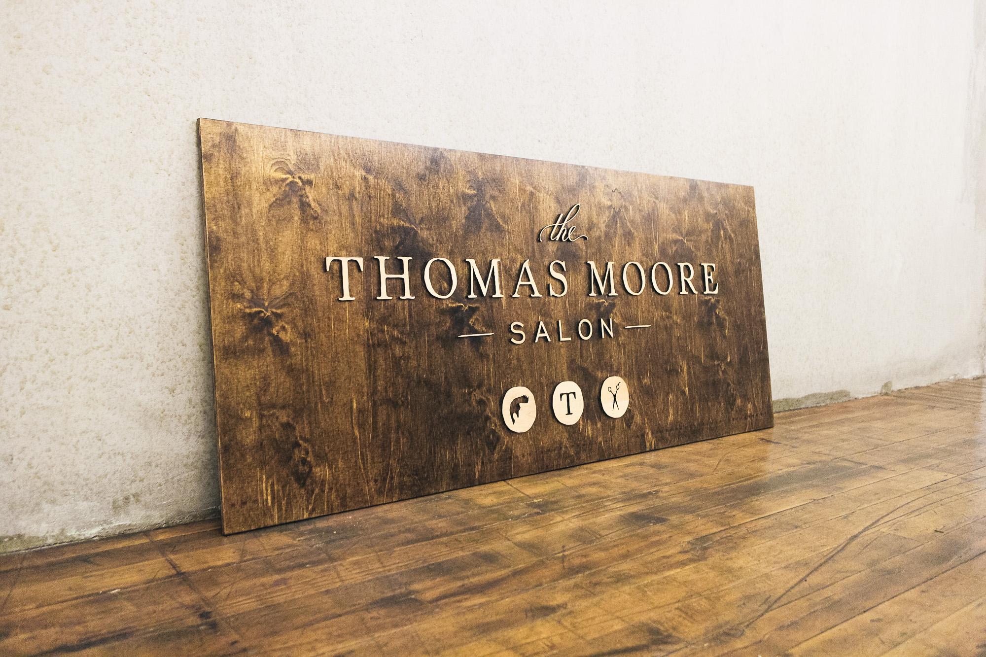 Thomas Moore Salon Raised Wood Sign