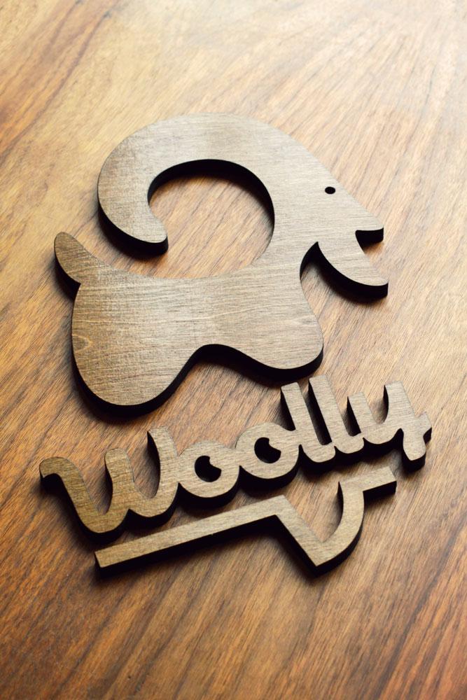 Dark Wood Floating Sign