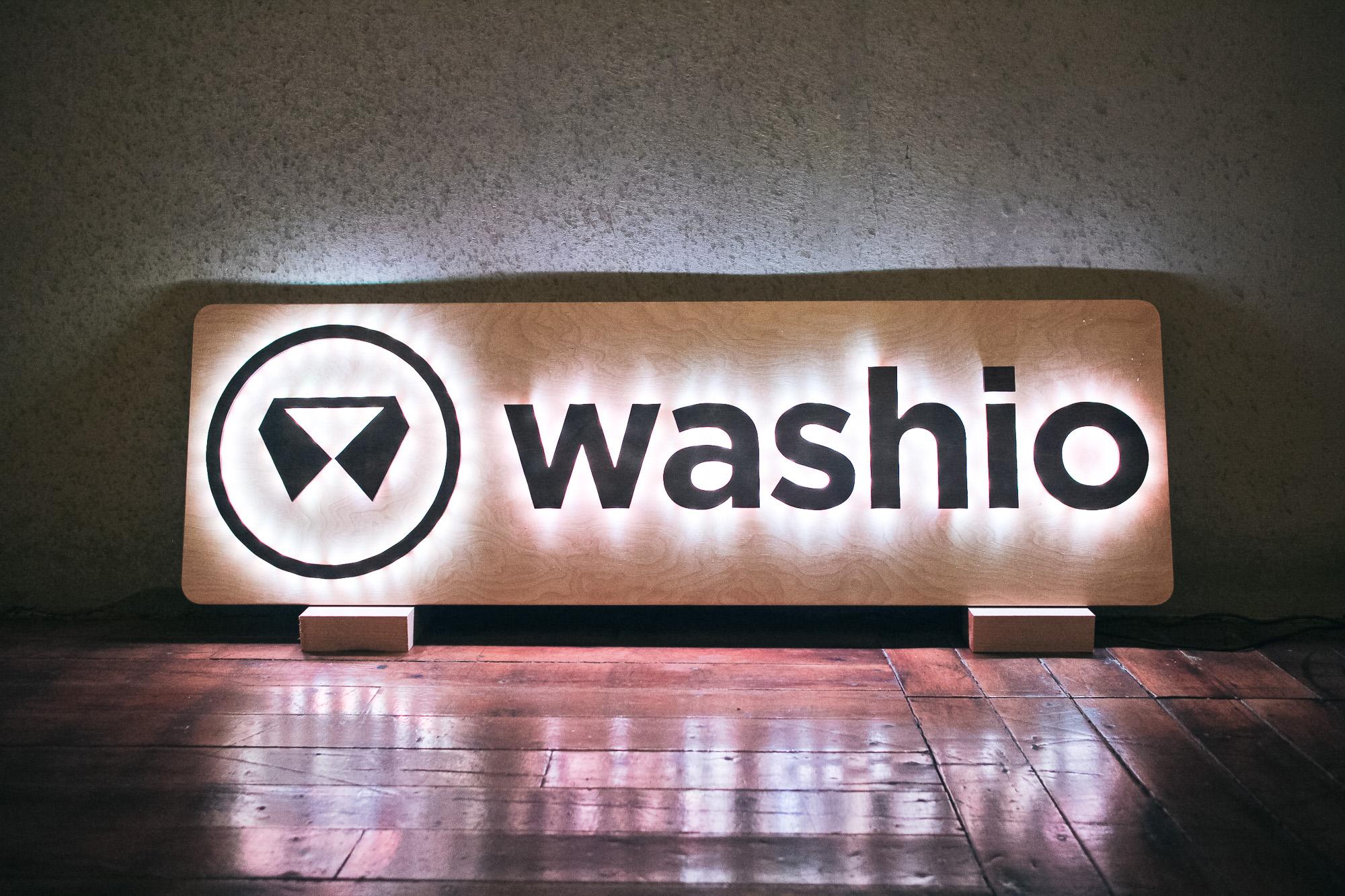 Washio illuminated wood sign