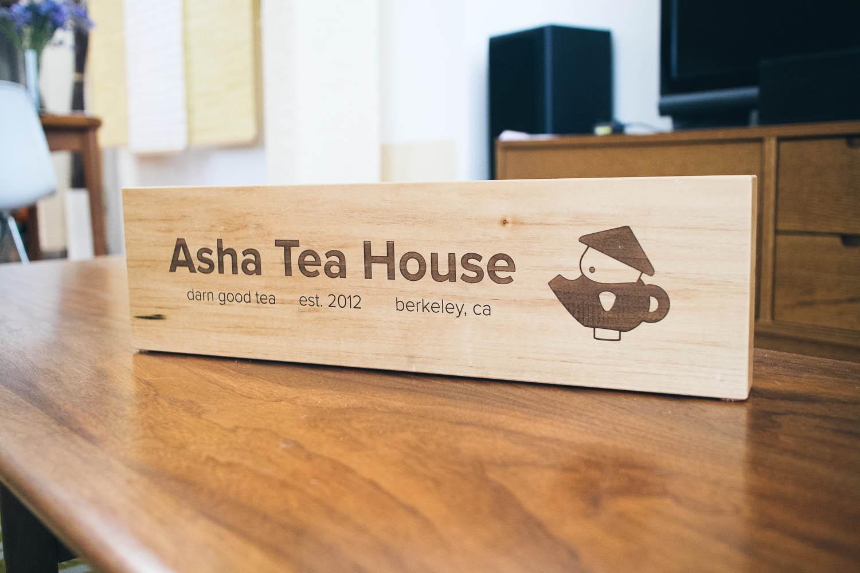 Asha Tea House Tabletop Sign