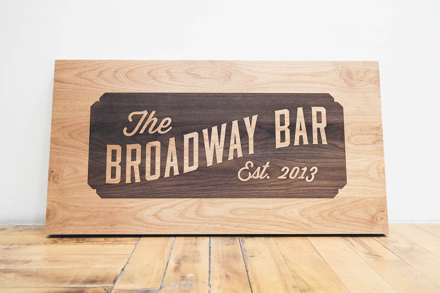 The Broadway Bar Etched Wood Sign