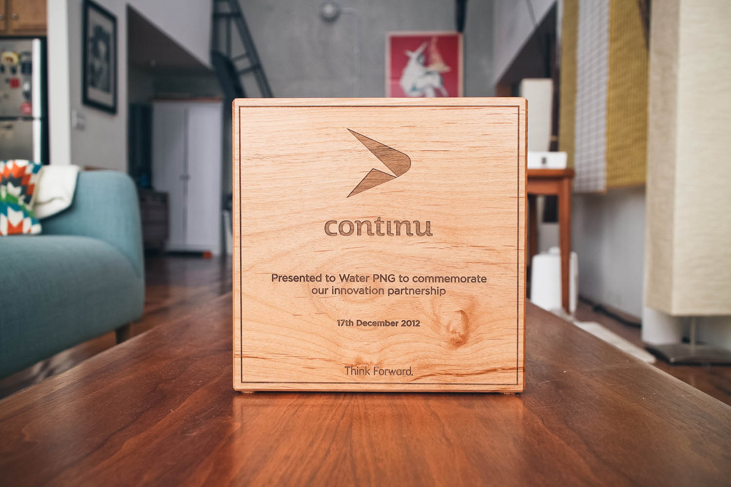 Continu Etched Wood Award