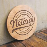 Netergy Etched Round Wood Sign