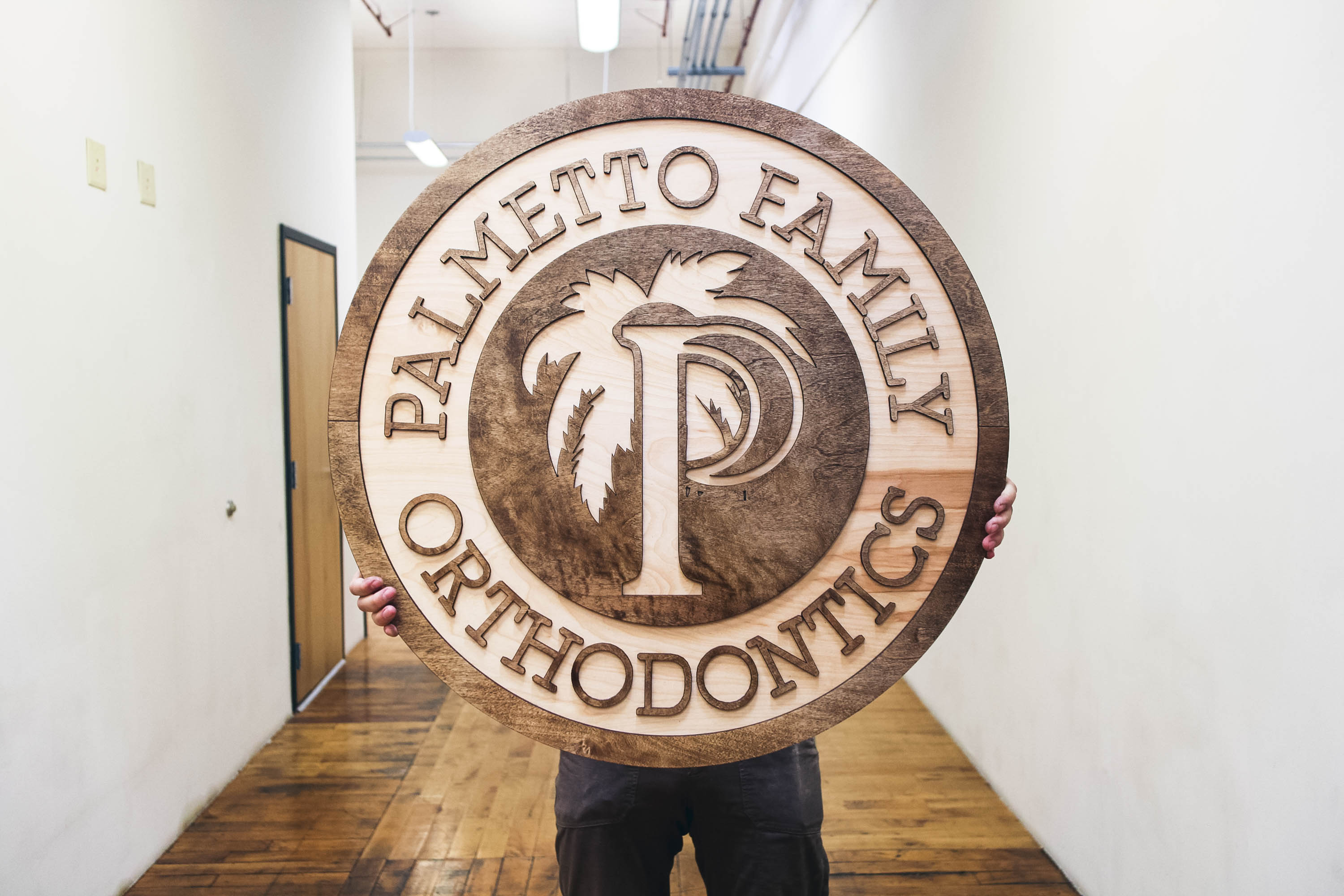 Palmetto Raised Chestnut Wood Sign