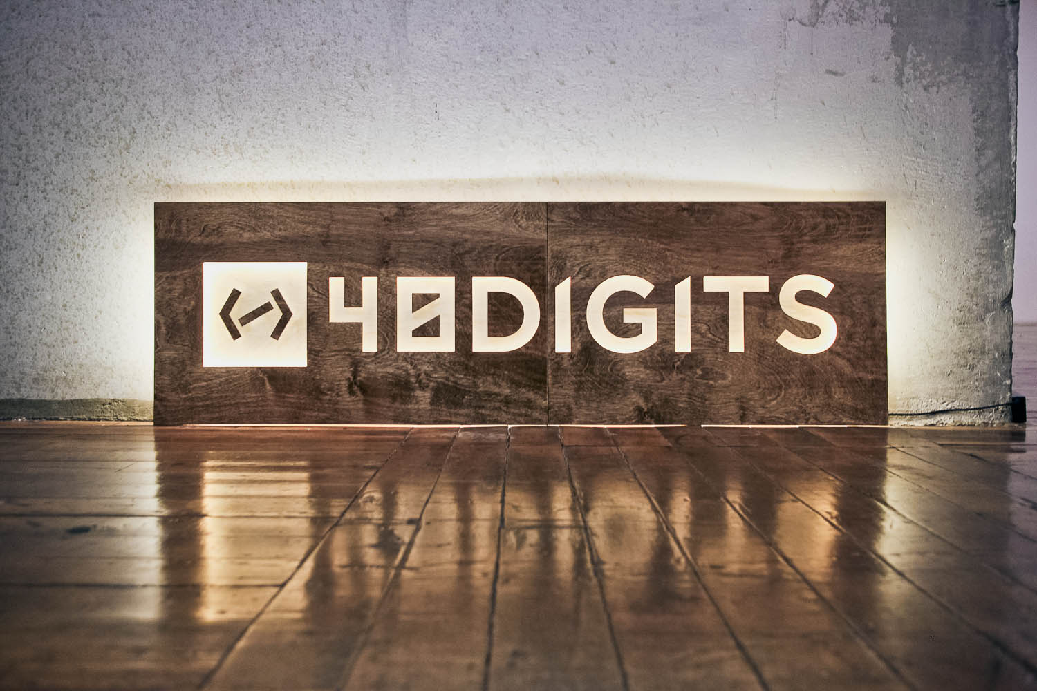 40 digits illuminated wood sign