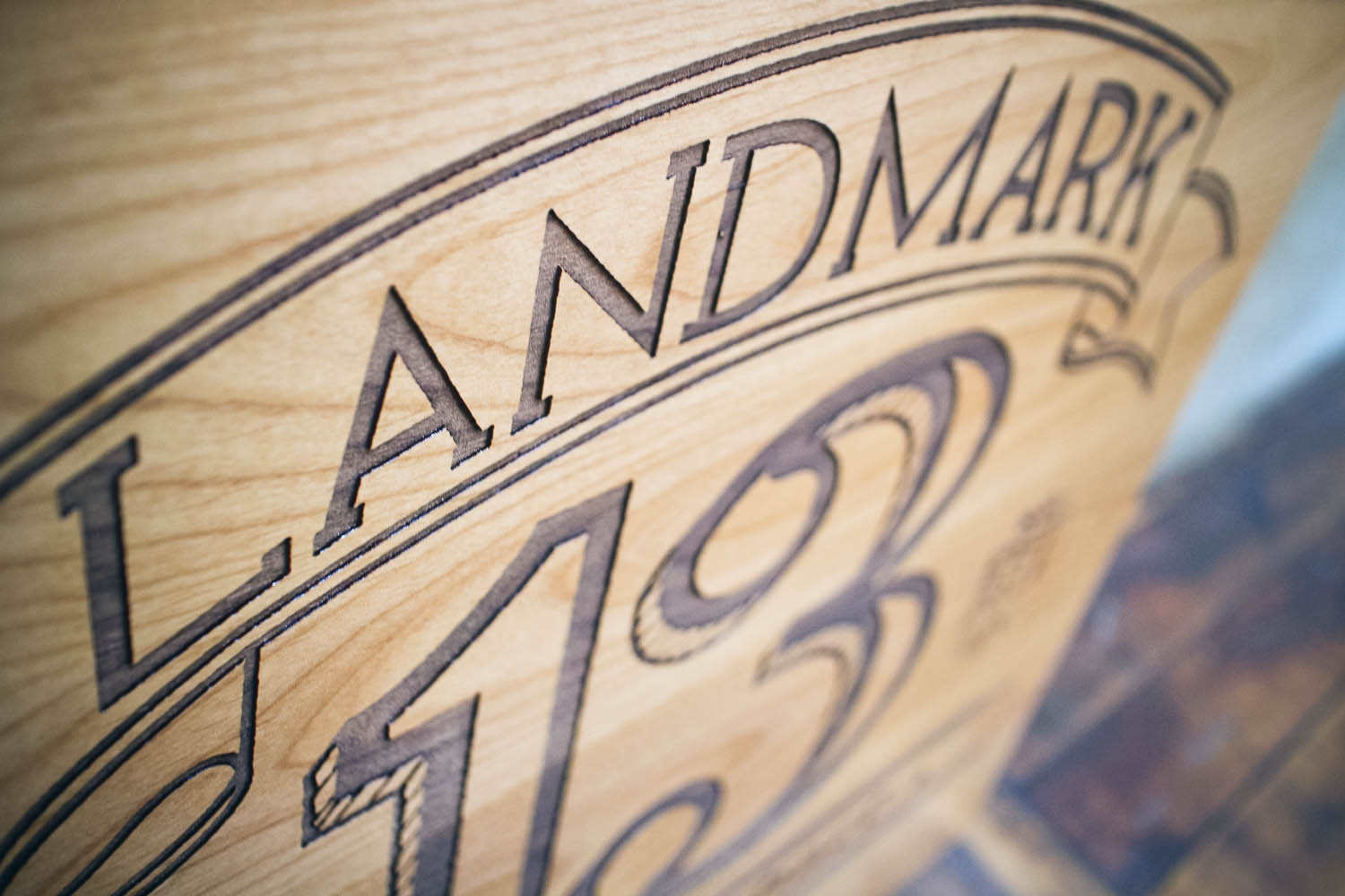Landmark 13 wood etched sign