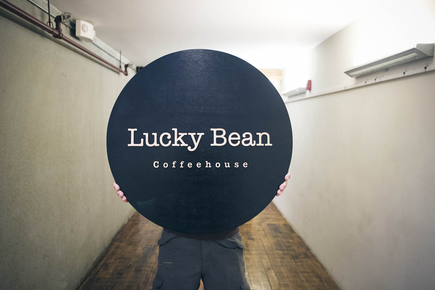 Lucky Bean Raised Wood Sign Black/Midnight