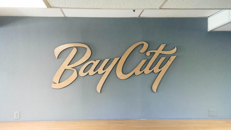Bay City Church Wood Script Sign