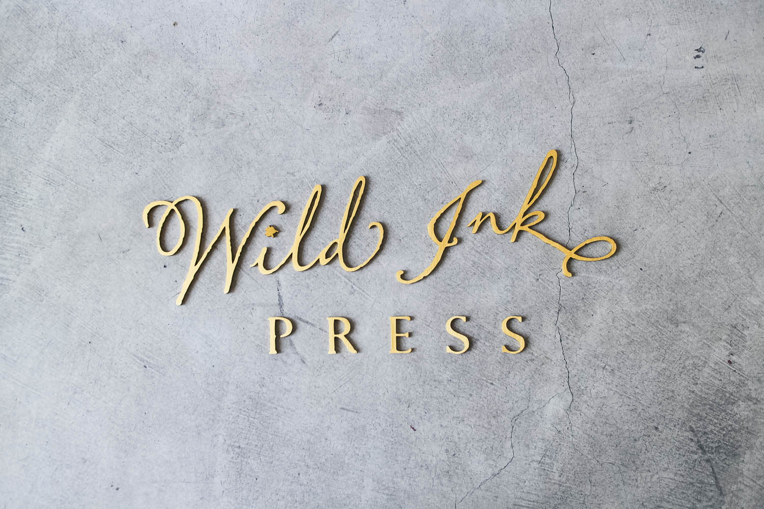 Wild Ink Brushed Gold Sign