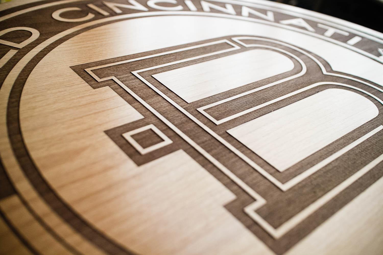 Build Cincinnati Round Etched Wood Sign