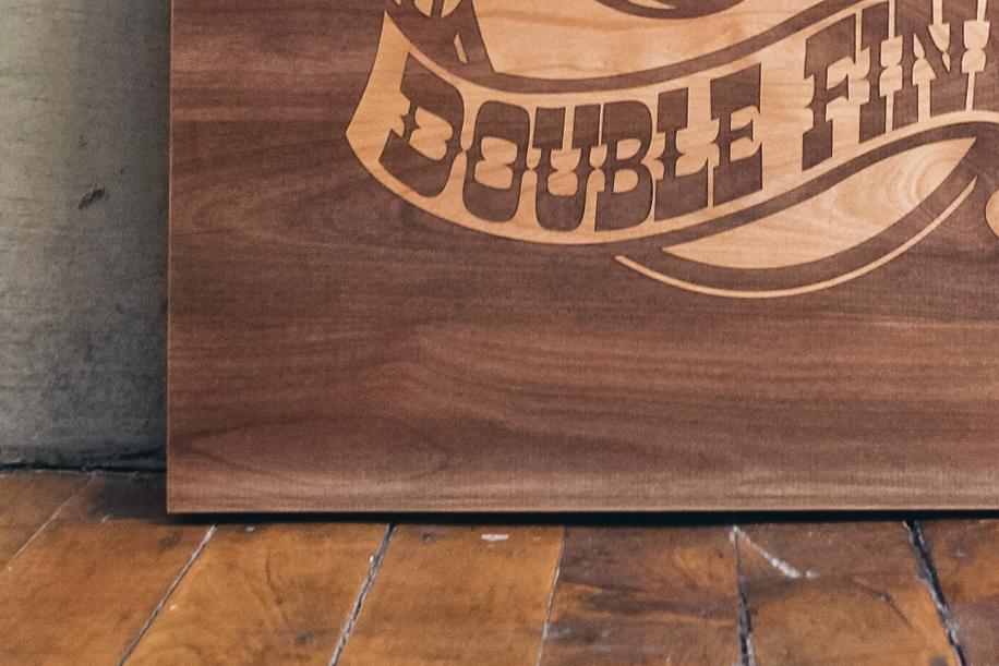Double Fine Inverted Alder Wood Sign