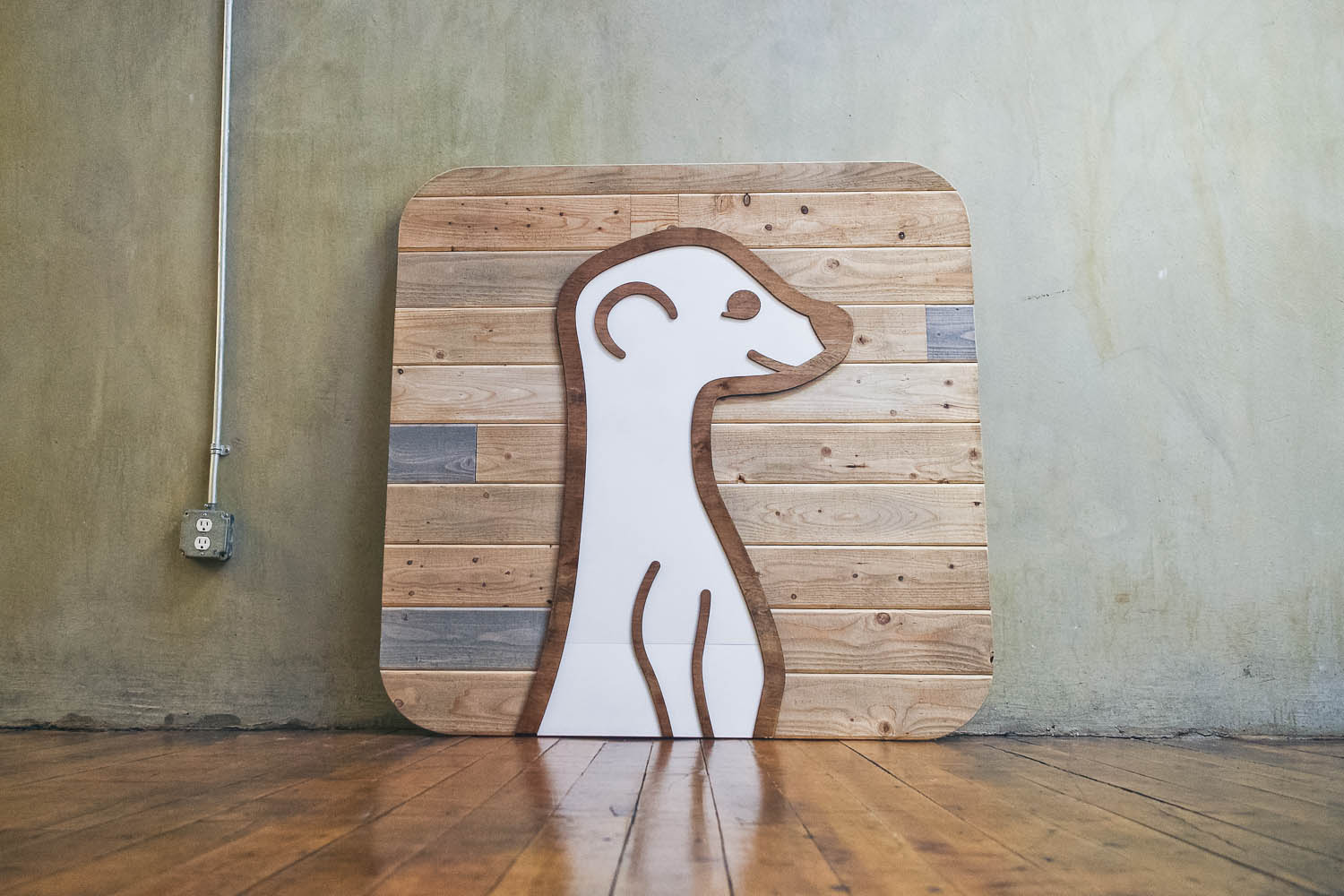 Meerkat Raised Rustic Wood Sign