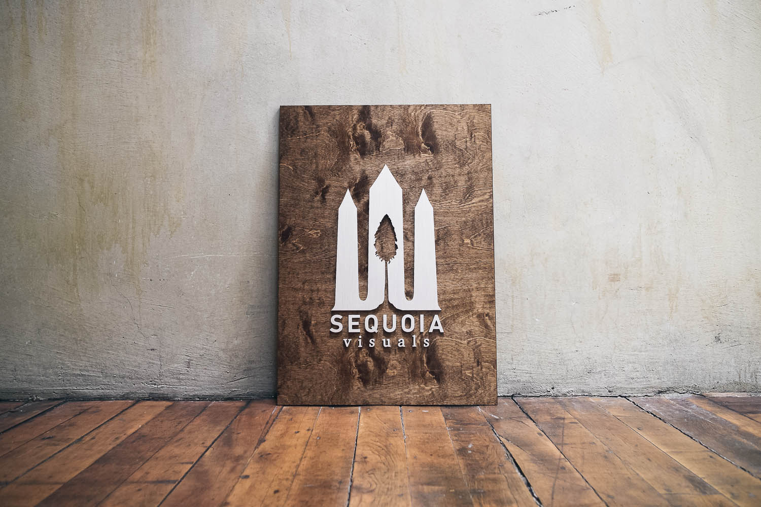 Sequoia Visuals Wood and Metal Sign