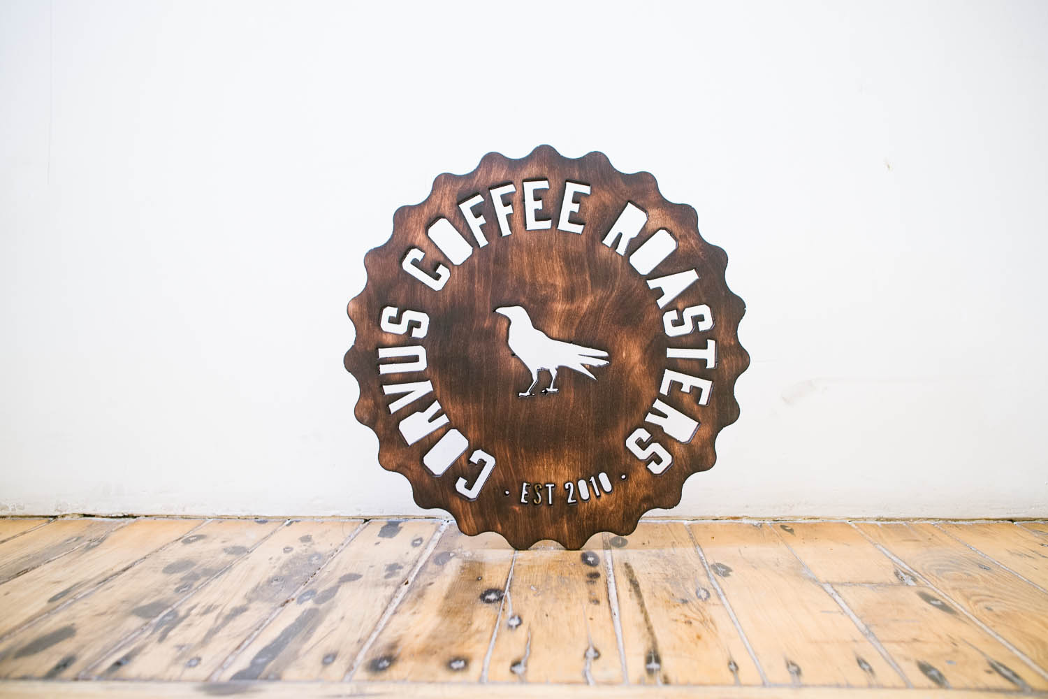 Corvus Coffee Torched Wood Signs
