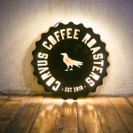 Corvus Coffee Illuminated Wood Sign