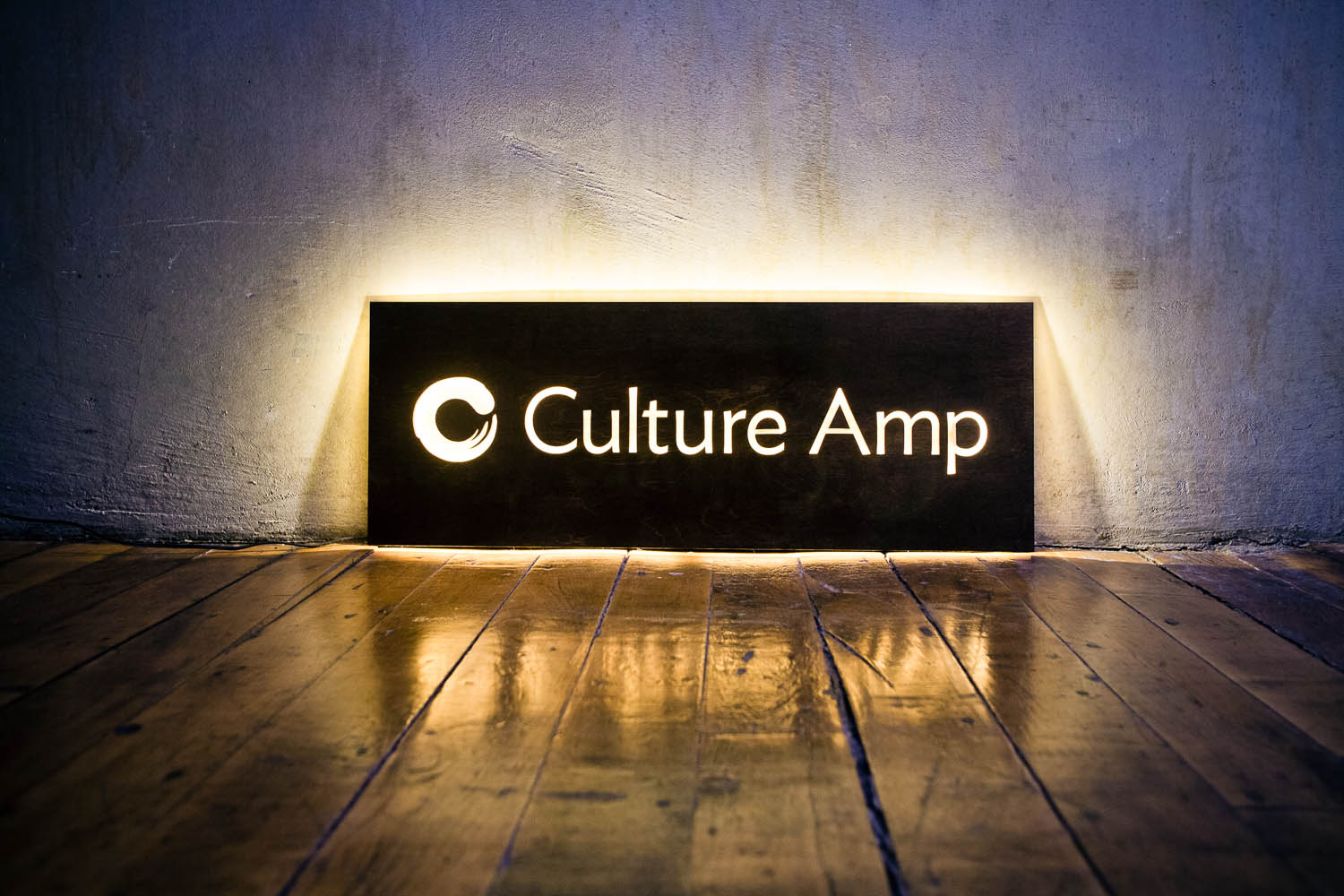 Culture Amp Illuminated Wood Sign