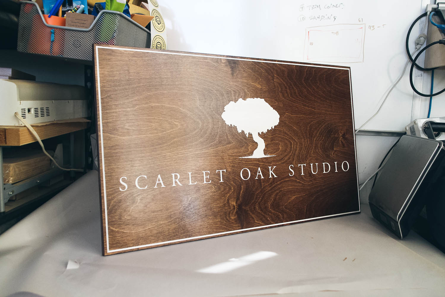 Scarlet Oak Studio Dark Wood Sign