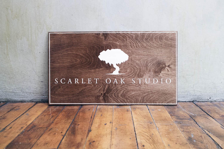 Scarlet Oak Studio Dark Wood Sign