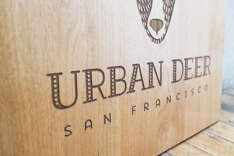 Urban Deer Etched Wood Sign