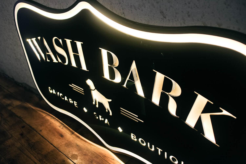 Wash Bark Illuminated Wood Sign