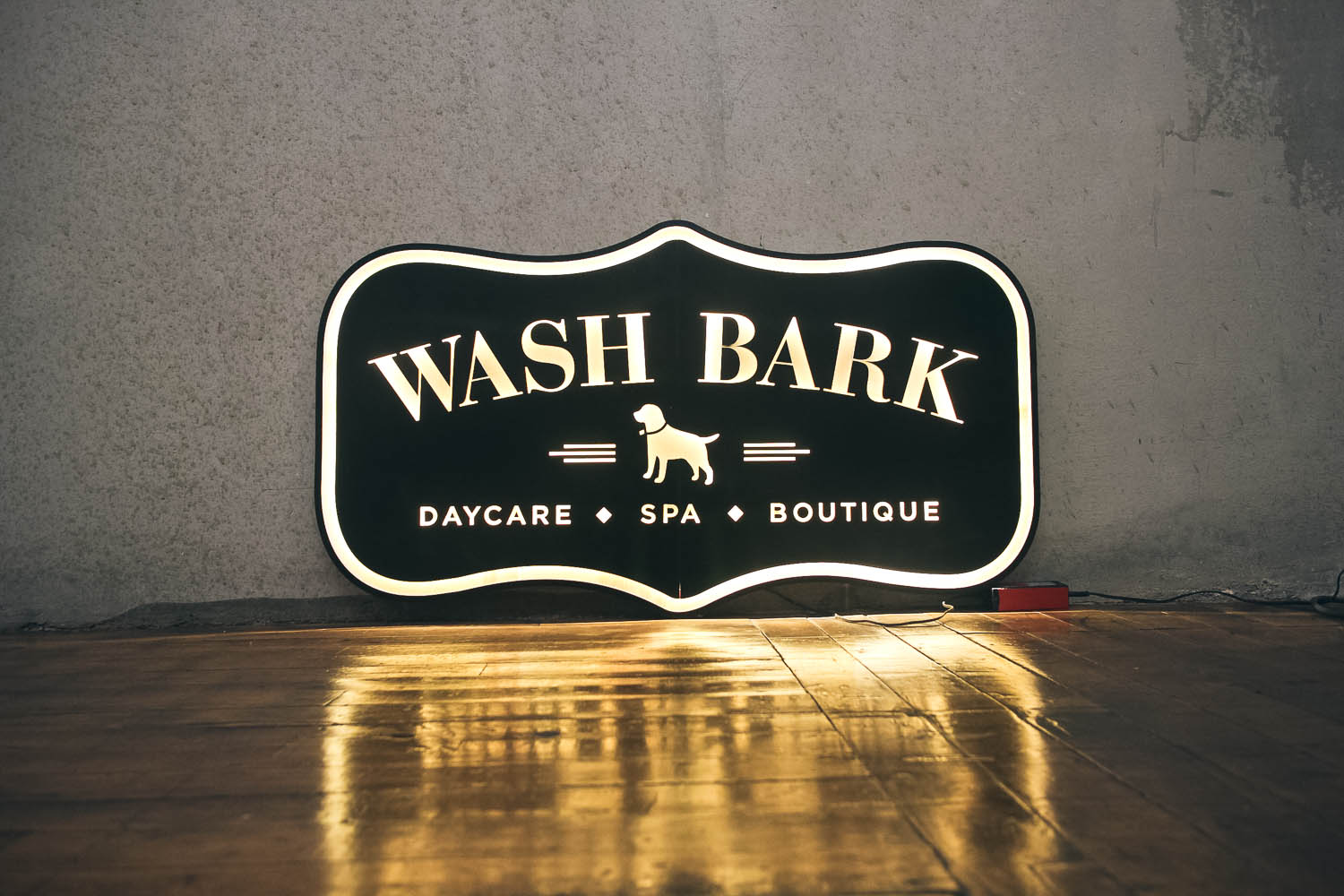 Wash Bark Illuminated Wood Sign
