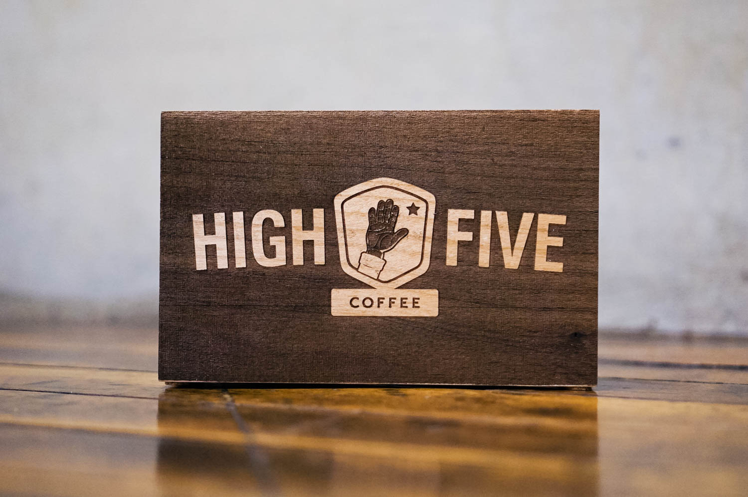 High Five Coffee Tabletop Wood Sign