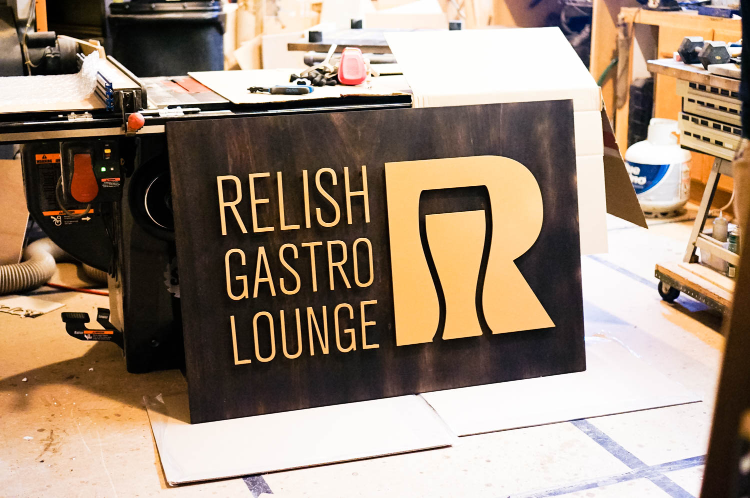 Relish Gastro Lounge Wood Sign