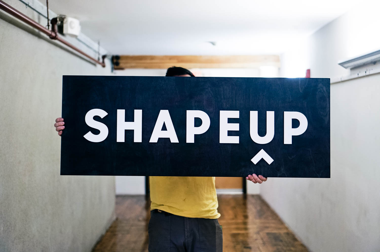 Shape Up Black White Wood Sign
