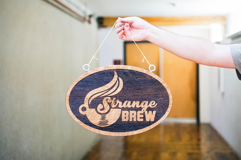 strange brew hanging etched sign