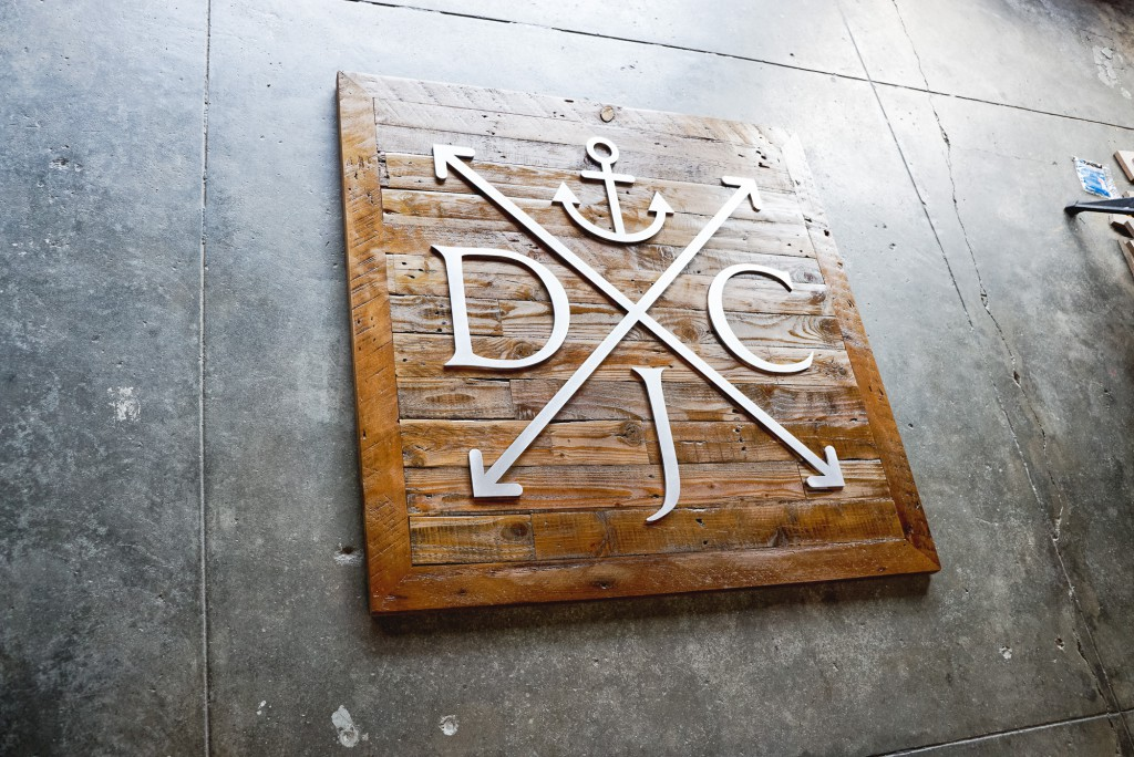 DJC reclaimed wood sign