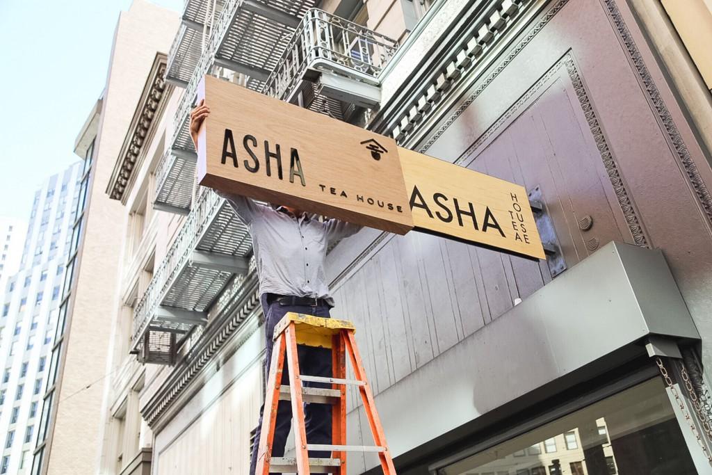 Asha Tea House Exterior Sign