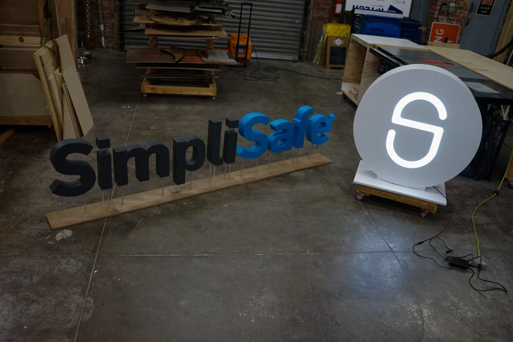 SimpliSafe freestanding CES sign