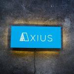axius blue illuminated sign