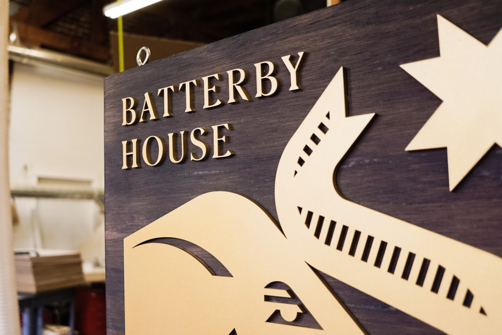 Batterby House Torched Wood and Gold Hanging Blade Sign