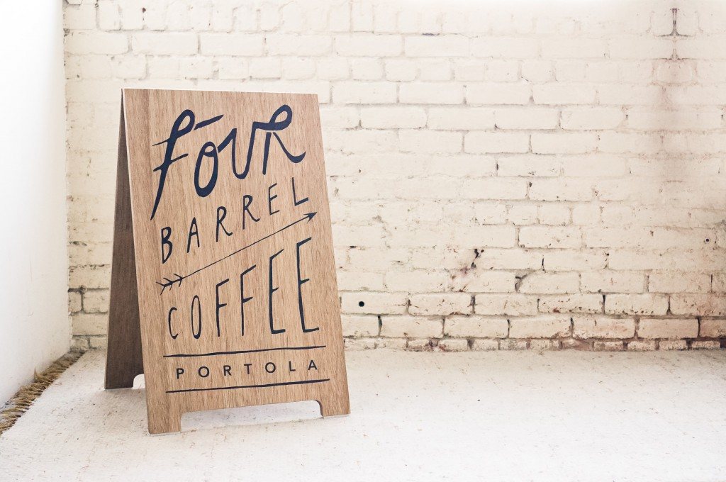 Four Barrel Coffee Wood A-frame