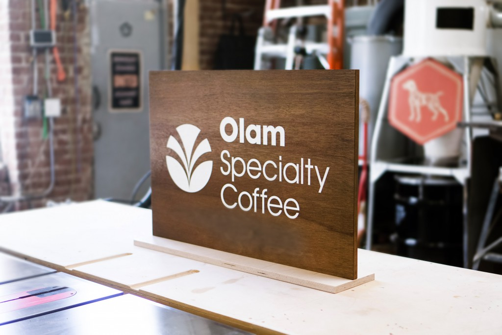 Olam Specialty Coffee Wood Tradeshow Sign