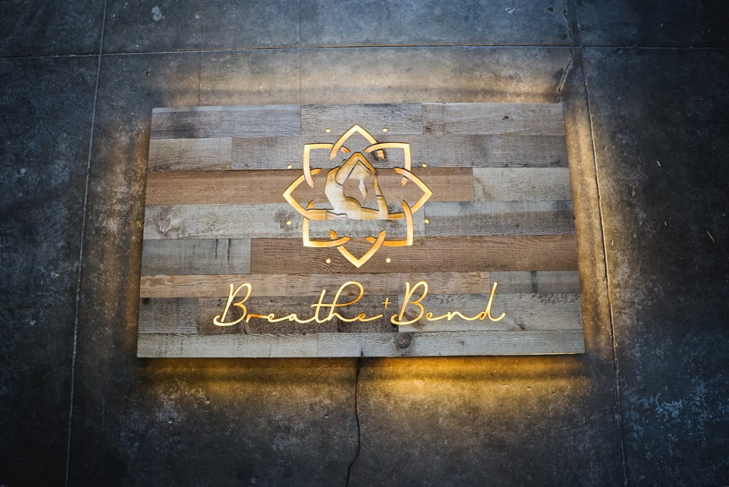 Breathe & Bend Hot Yoga Illuminated Reclaimed Wood Sign
