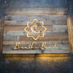 Breathe & Bend Hot Yoga Illuminated Reclaimed Wood Sign