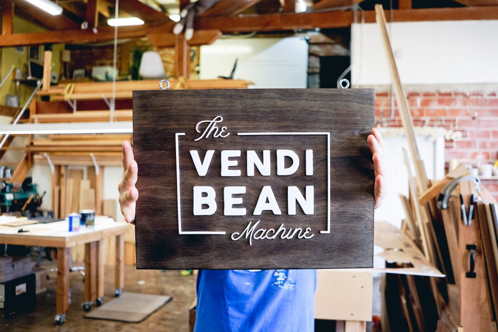 The Vendi Bean Machine Sign