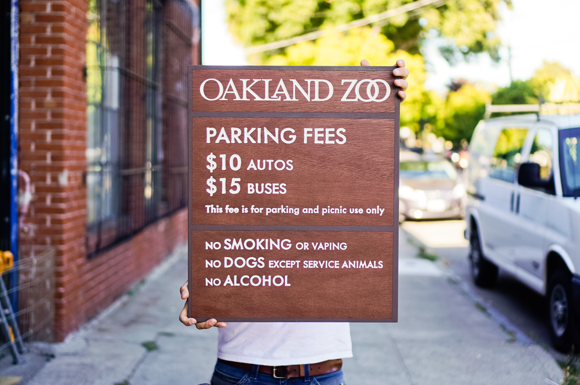 Oakland zoo outdoor national park style wood sign
