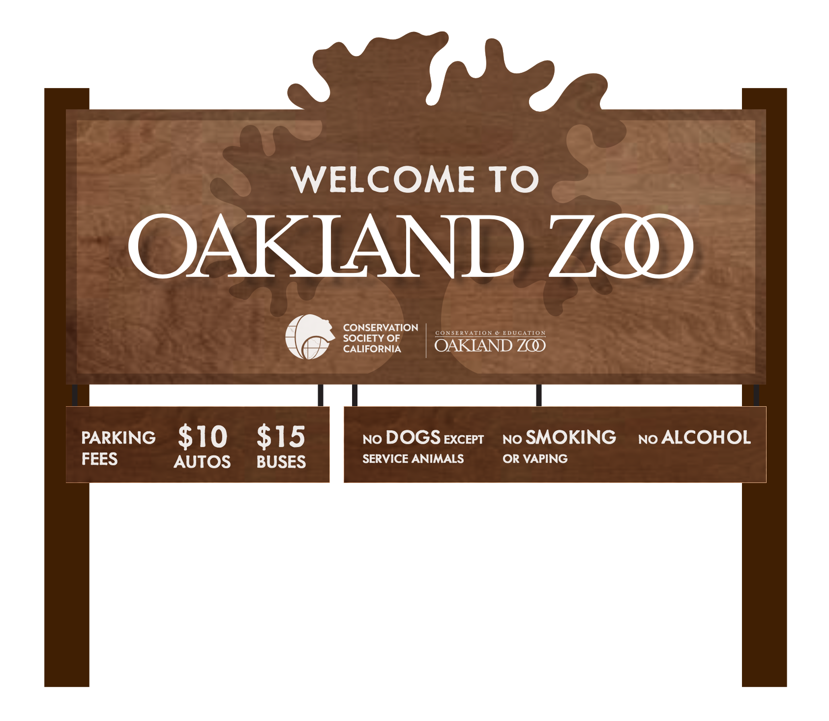 Oakland zoo national park style post sign mockup