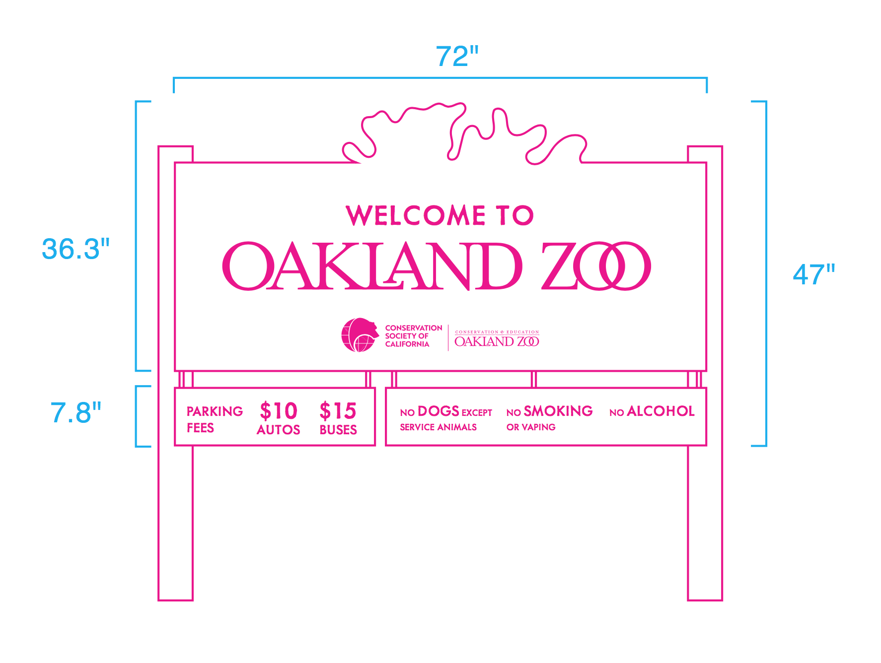 Oakland zoo national park style post sign mockup dimensions