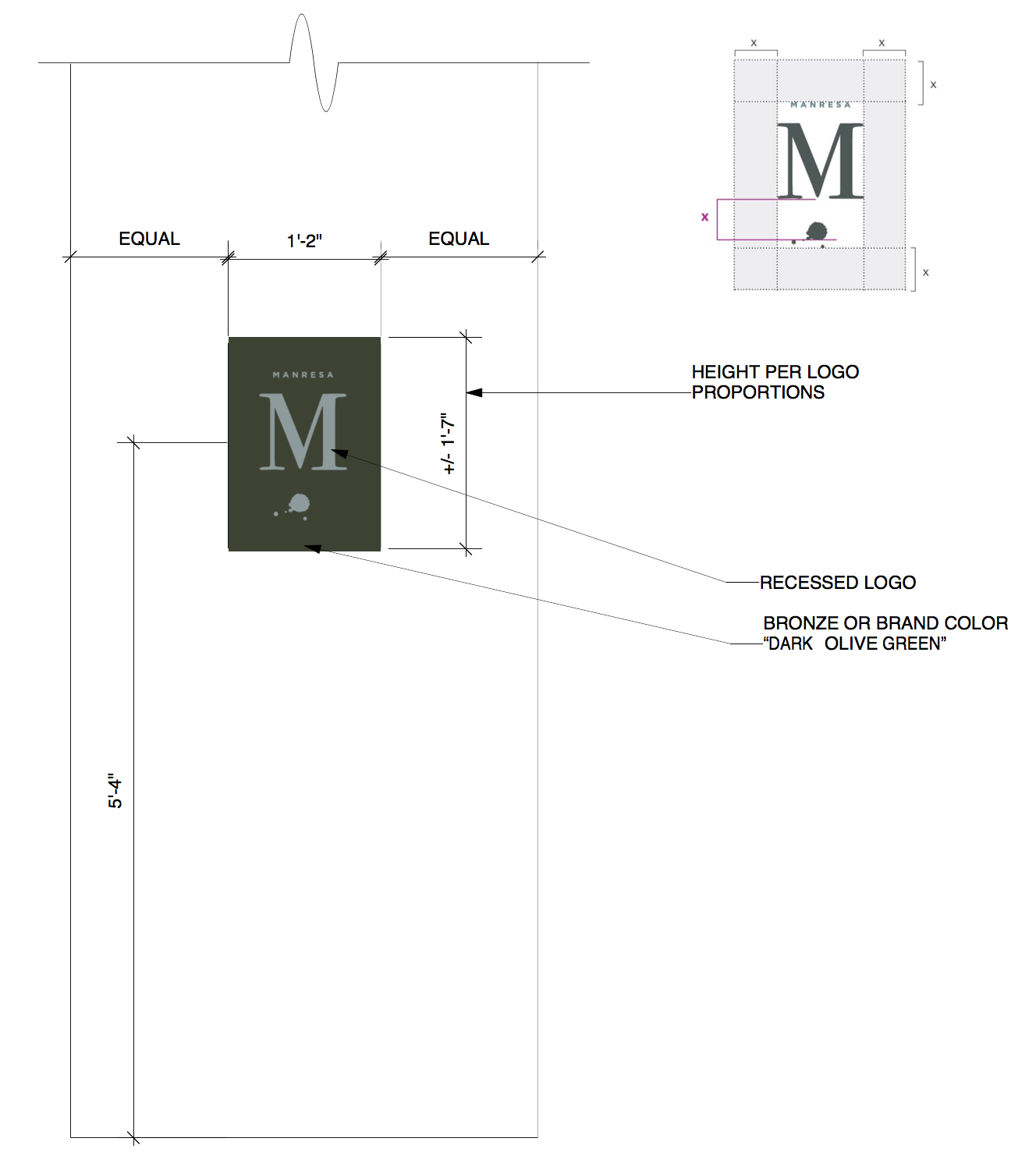 Manresa Restaurant Custom Entrance Sign Drawing